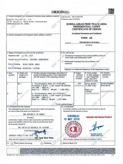 Tìm hiểu về Vận đơn đường biển (Bill of Lading - B\/L) Món ngon - certificate of origin sample