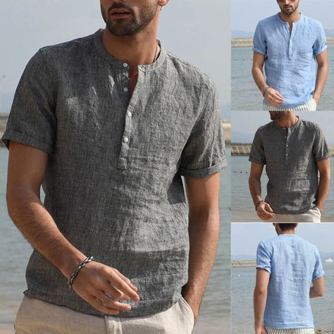 Men Vintage Pure Color Button Solid Short Sleeve Retro Shirt Top SF – loveitbabe