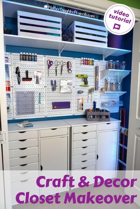 Organization-Ideas-And-Decor/ craft room storage, craft room closet, sewing