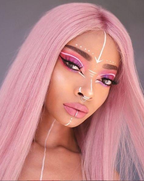 Temper by Nyané ® ( Aesthetic Hair, Aesthetic Makeup, Dear Makeup, Rave Hair, Tribal Makeup, Exotic Makeup, Alternative Makeup, Rave Makeup, Creative Makeup Looks