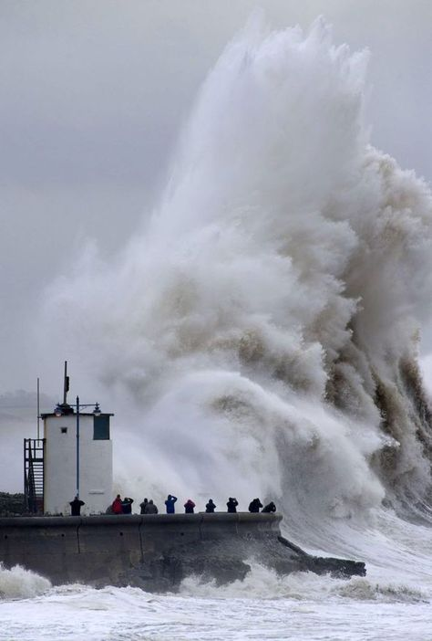 Porthcawl, Wales takes a battering from yet another fierce Atlantic storm yesterday (5th February 2014 )
