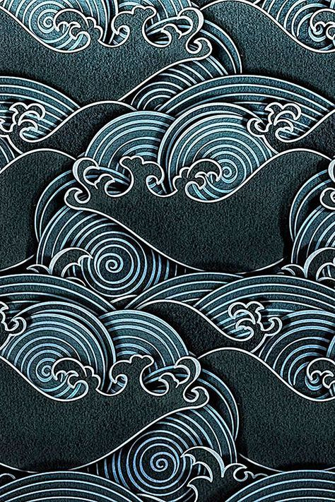 Japanese artwork, japanese textiles, japanese design, water patterns, art p Japanese Textiles, Japanese Patterns, Japanese Design, Chinese Patterns, Japanese Fabric, Textile Patterns, Print Patterns, Floral Patterns, Geometric Patterns