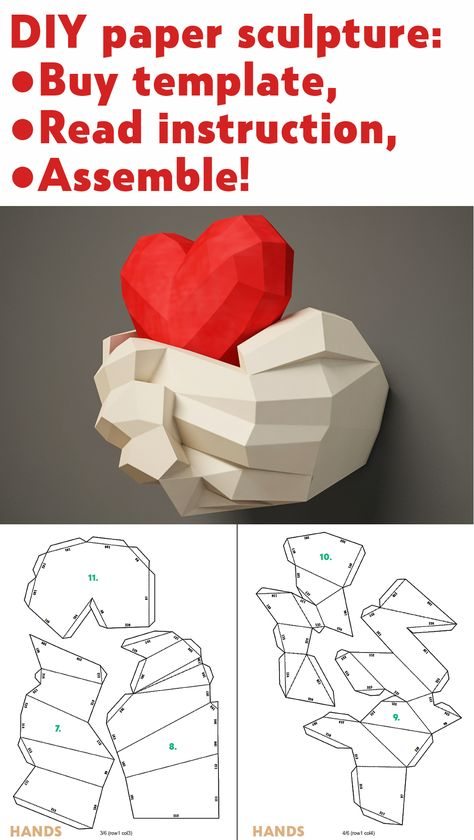 DIY paper sculpture Hands & Heart, Papercraft template 3D