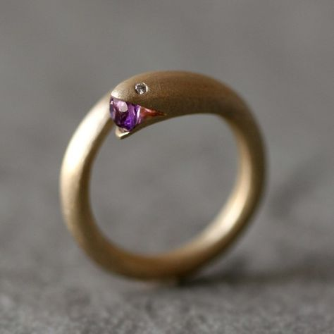 Open Mouth Snake Ring in Brass with Purple Amethyst and Diamonds (via Open Mouth Snake Ring in Brass with Purple by michellechangjewelry)