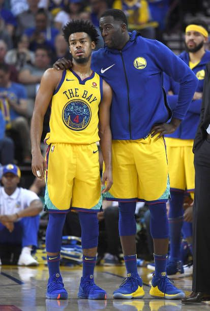 Quinn Cook And Draymond Green Of The Golden State Warriors Stand And Talk During A Break In Th Drill Team Pictures Girls Basketball Shoes Basketball Highlights