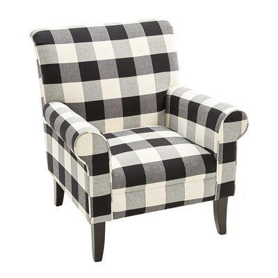 Laila Black Buffalo Check Armchair Black Furniture Living Room Black Living Room Armchair
