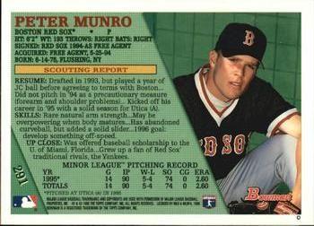 1996 Bowman 291 Pete Munro Back Bowman Munro Baseball Cards
