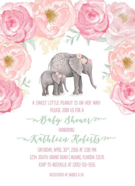 Pink Elephant Baby Shower Invitation, Boho Baby Shower, Floral Girl Baby Shower Invite, Watercolor Rose Little Peanut Printable Invitation by CasaConfetti