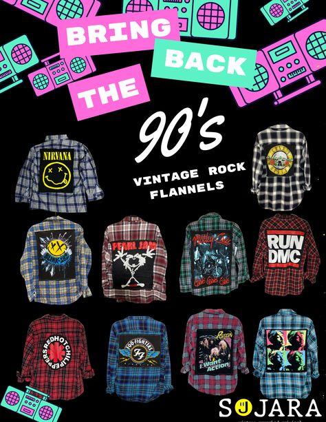 The 90's Vintage Rock Flannels by SOJARA.
