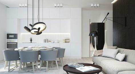 Lampadari Per Cucina E Soggiorno.Open Space Con Dei Mobili Sospesi Soggiorno Cucina Bianca E