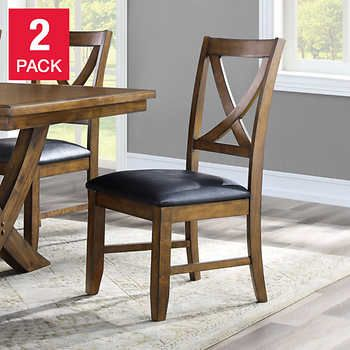 Valaria Dining Chair 2 Pack Dining Chair 2 Packrubberwood Constructionhand Applied Medium Brown Finishby B Bayside Furnishings Dining Chairs 7 Piece Dining Set