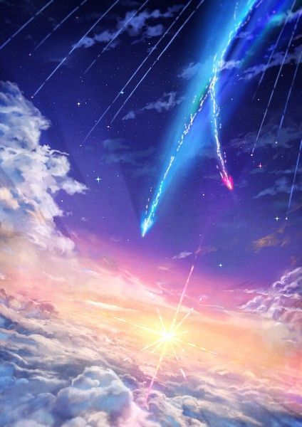 Anime Film Yourname Sky Illustration Art Iphone 5s Wallpaper Anime Backgrounds Wallpapers Anime Scenery Sky Anime