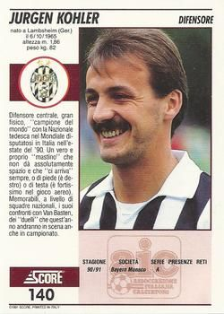 1992 Score Italian League 140 Jurgen Kohler Back Juventus Trading Card Database Italian League