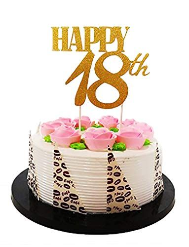 Fine El Gold Glitter Happy 18Th Birthday Cake Topper Foreve S Funny Birthday Cards Online Fluifree Goldxyz