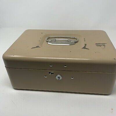 Ebay Ad Link Vintage Tan Metal Cash Coin Money Box W Key 7 X 4 X 10 Storage Box Papers Money Handling Point Of Sale