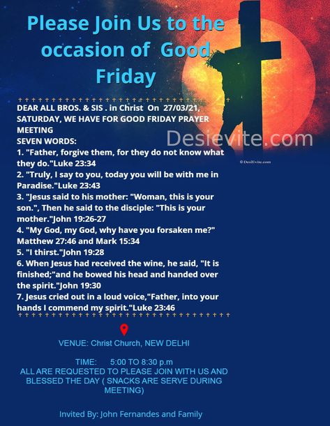 Good Friday Invitation Card