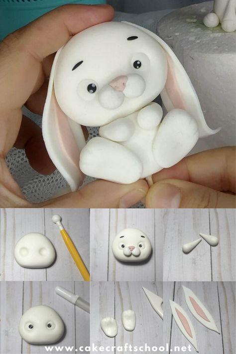Cute Polymer Clay, Cute Clay, Polymer Clay Crafts, Cake Topper Tutorial, Fondant Tutorial, Fondant Animals Tutorial, Fondant Rabbit, Fondant Cake Toppers, Animal Cakes