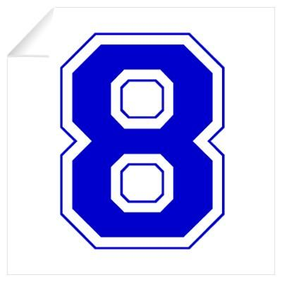 Varsity Font Number 8 Blue Wall Decal