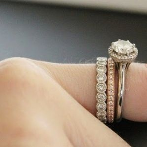 Love The Idea Of Adding A Rose Gold Infinity Band In Slightly Different Style Between My White Wedding Set Would Be Great Annive