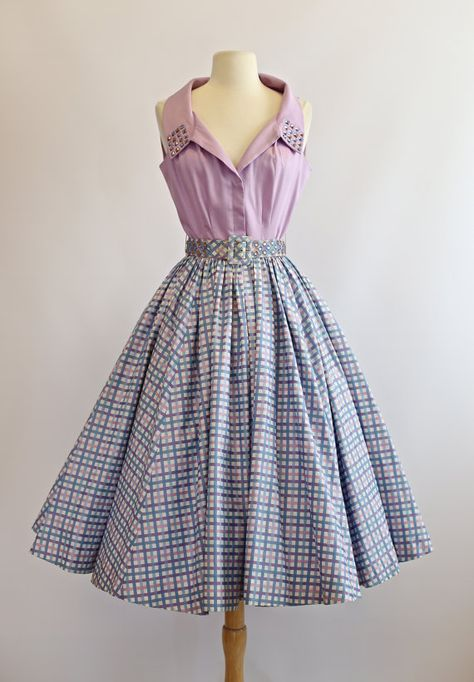 Vintage 1950s Cotton Dress ~ 50s Sundress With Full Skirt Studded with Rhinestones ~ 1950s Western Dress Gingham Print    This sweet 1950s cotton