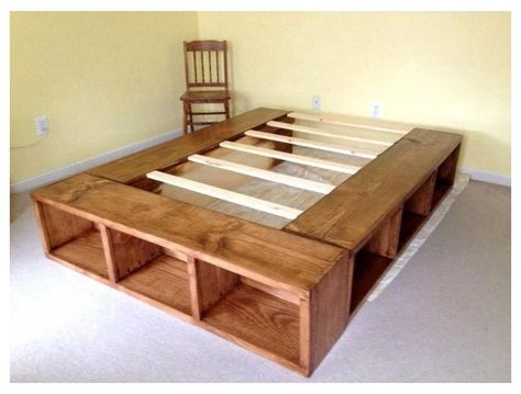 Diy Storage Bed, Bed Frame With Storage, Under Bed Storage, Underbed Storage Ideas, King Size Storage Bed, Cube Storage, Extra Storage, Bed Frame With Drawers, Storage Bed Queen