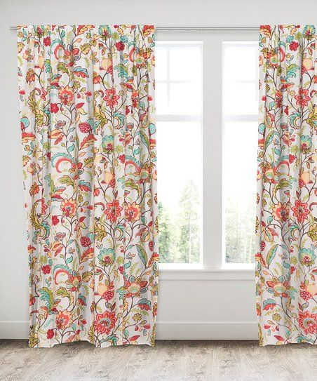 Levtex Home Teal Coral Floral Curtain Panel Zulily Panel