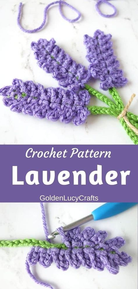 This crochet lavender applique will make a beautiful embellishment for blanket, pillow, market bag, it will look great on handmade cards or can be used for scrapbooking! Free crochet pattern, crochet applique, motif, crochet Summer flower