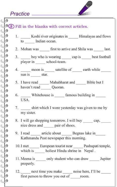 Grade 4 Grammar Lesson 12 Articles