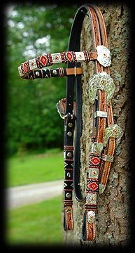 Beaded Headstalls and bridles, sterling silver, silver, show headstalls, spur straps, cowboy tack, sterling conchos