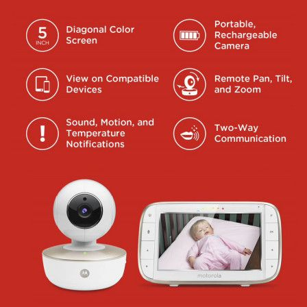 Motorola MBP853CONNECT Wi-Fi Video Baby Monitor with 3.5 Diagonal Color Screen