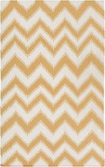 yellow chevron ikat wool rug