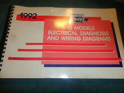 Details About 1992 Chevrolet S10 S10 Blazer Electrical Diagnosis And Wiring Diagrams Manual S10 Blazer Chevrolet Diagnosis
