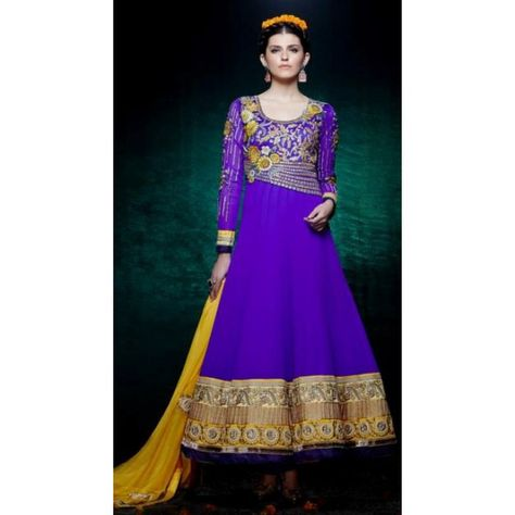 be109b38757 KIMORA BLUE DESIGNER SEMI STITCHED LONG ANARKALI SALWAR KAMEEZ WITH GOLD  ZARI WORK AND FLORAL WORK. THIS PARTY SUIT COMES ALONG WITH AN YELLOW  CONTARSTING ...