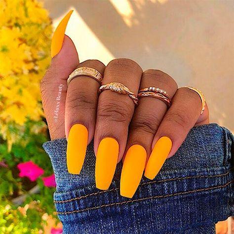 Cute Yellow Matte Coffin Nails! #coffinnails #coffinnailshape #mattenails #yellownails #longnails