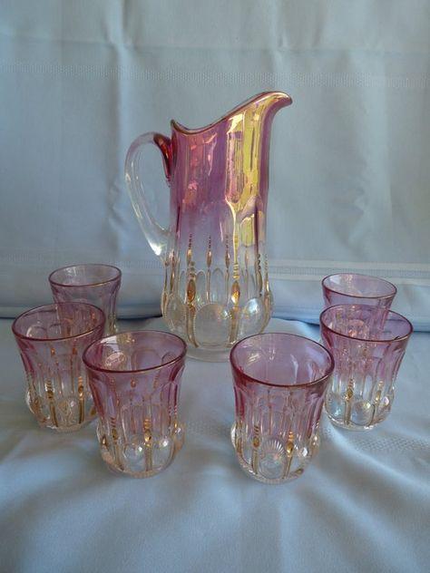 Glass Company, Carnival Glass, Antique Glass, Victorian Era, Colored Glass, Vintage Pink, Tea Set, Tea Party, Glass Art