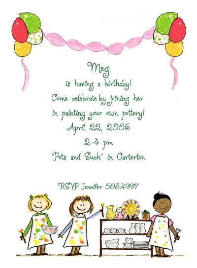 Pottery Invitations These Girls Are Having So Much Fun At Their - Email to friend for birthday invitation