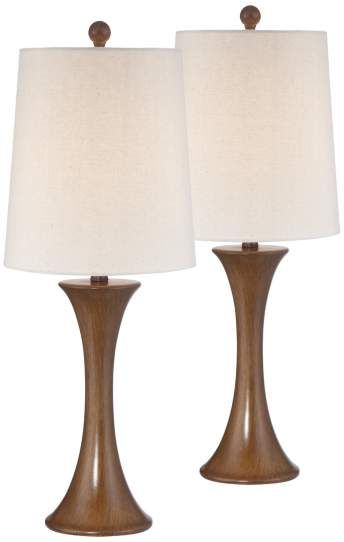 Brandon Walnut Column Table Lamp Set Of 2 12d24 Lamps Plus Lamp Sets Table Lamp Sets Table Lamp