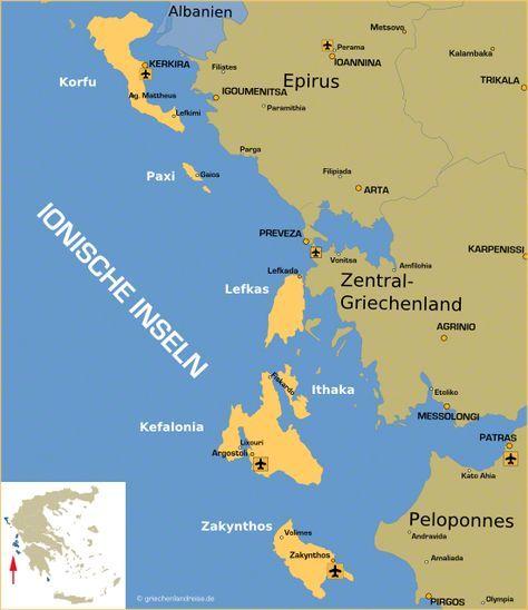 Landkarte Der Ionischen Inseln In Griechenland Ionische Inseln