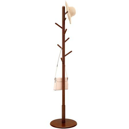 Langria Solid Wood Coat Rack Rubberwooden Hat And Coat Stand With 8 Hooks Entryway Hall Stand Free Standing Clot Coat Rack Clothes Tree Standing Coat Rack