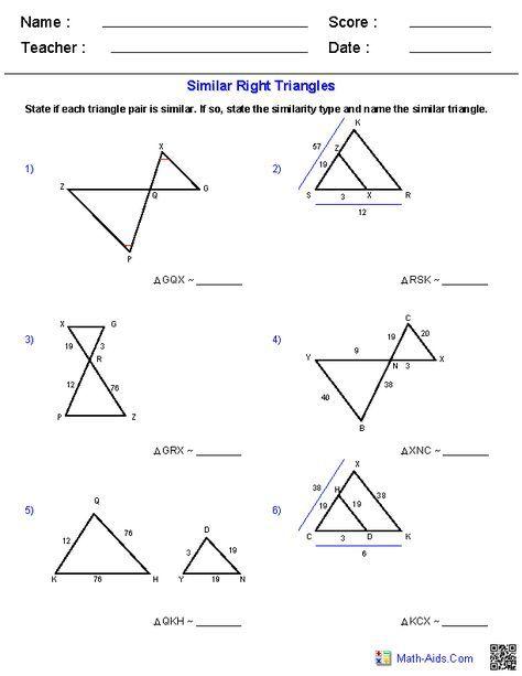 Similar Triangles Worksheets Geometry Worksheets Triangle Worksheet Similar Triangles