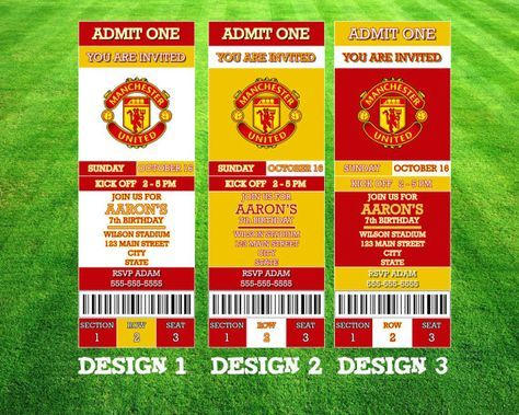 Manchester United Invitation By Awilsondesigns On Etsy Invitations The Unit Printable Tickets