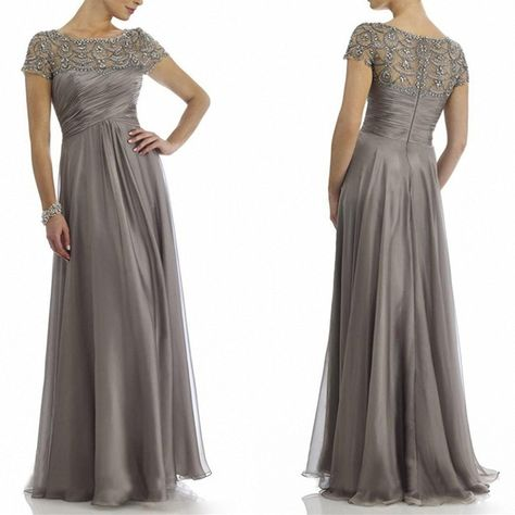 e0b92a2fe41dce New Deve Newdeve Chiffon Mother Of The Bride Dresses Long Pleated With Rhinestones  Short Sleeve at Amazon Women's Clothing store: