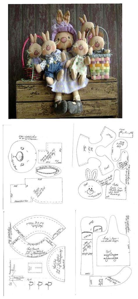 Stuffed Momma Bunny & her Lil Bunnies Pattern .. ..•♥°.... Nims.... °♥•