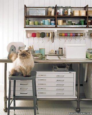 Martha Stewartu0027s Rustic, Industrial Craft Room