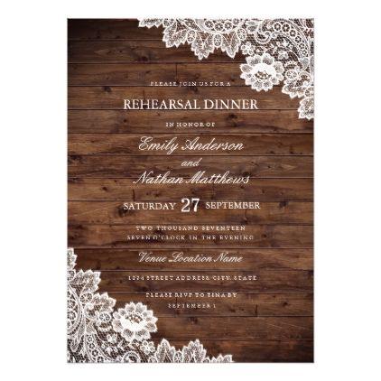 Rustic Wood Vintage Lace Wedding Rehearsal Dinner Invitation