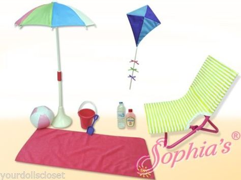 10 pc Beach Set Chair Kite Ball Blanket Complete Set fits American Girl Swim