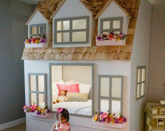 Layla S Dollhouse Loft Bed Play Area Underneath Options Include Bunk Bed Version Storage Trundle Slide Stairs W Built In Storage With Images Bunk Beds Loft Bed Loft Spaces