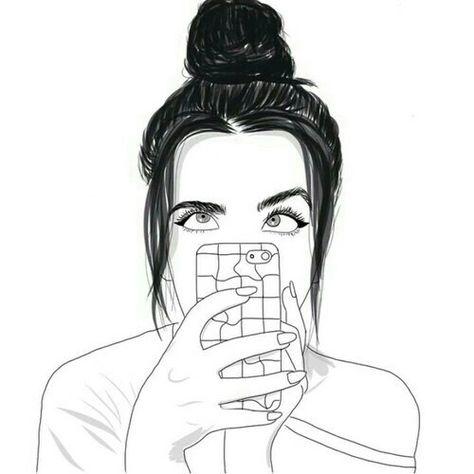 Картинки рисование карандашом девочки с айфоном