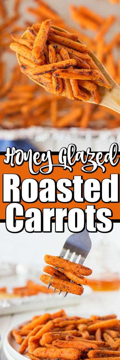 These very easy Honey Glazed Dijon Roasted Carrots make quick work of an easy side for any night of the week. #roastedcarrots #honeyglazed #carrots #mustardcarrots