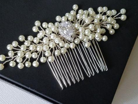 Bridal Wedding Hair Accessories White Rhinestone Cream Pearls Peacock Comb HA112